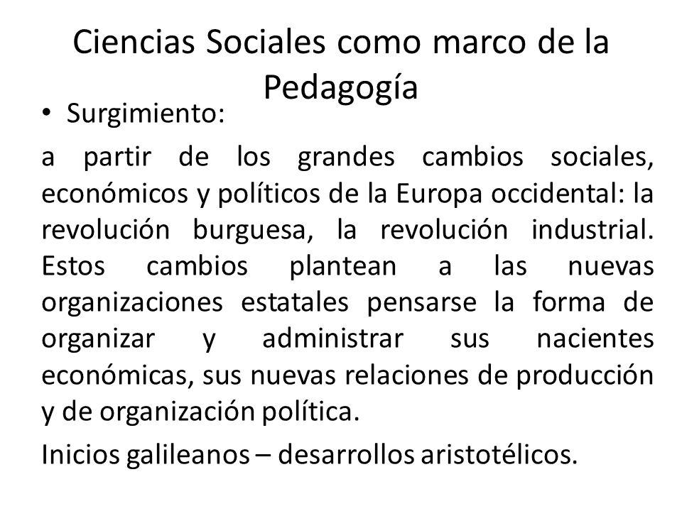 Ciencias Sociales como marco de la Pedagogía Surgimiento: a partir de los grandes cambios sociales, económicos y políticos de la Europa occidental: la