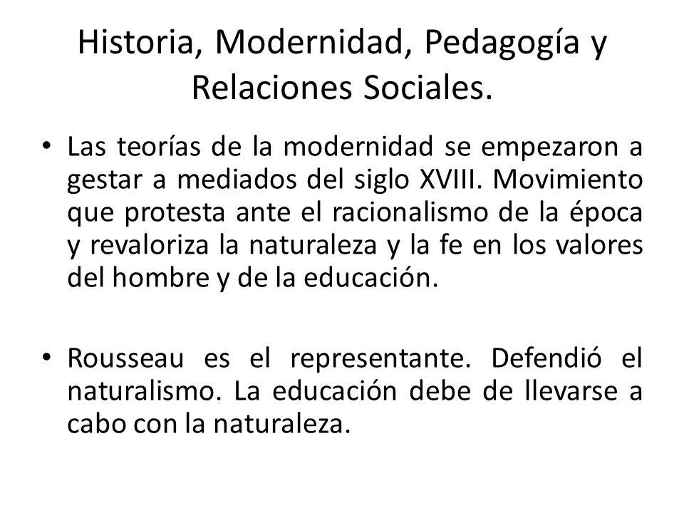 Historia, Modernidad, Pedagogía y Relaciones Sociales. Las teorías de la modernidad se empezaron a gestar a mediados del siglo XVIII. Movimiento que p