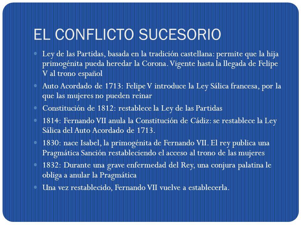 EL CONFLICTO SUCESORIO Ley de las Partidas, basada en la tradición castellana: permite que la hija primogénita pueda heredar la Corona.