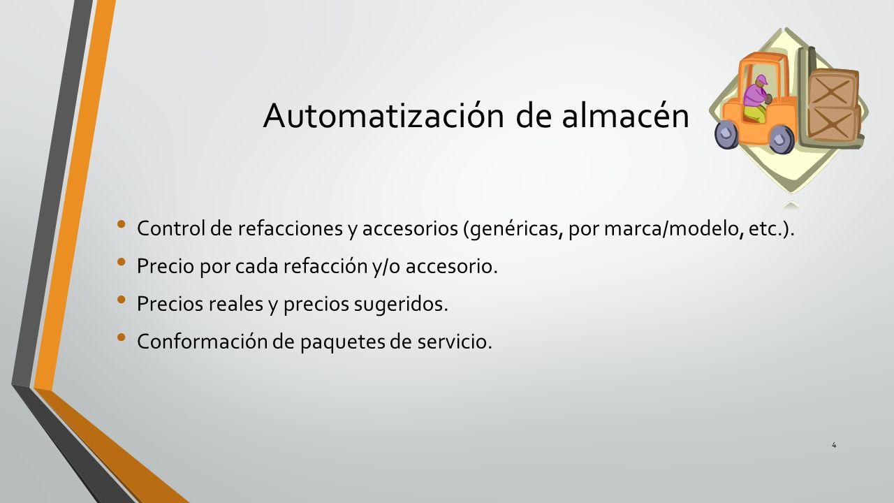 Automatización de almacén Control de refacciones y accesorios (genéricas, por marca/modelo, etc.). Precio por cada refacción y/o accesorio. Precios re