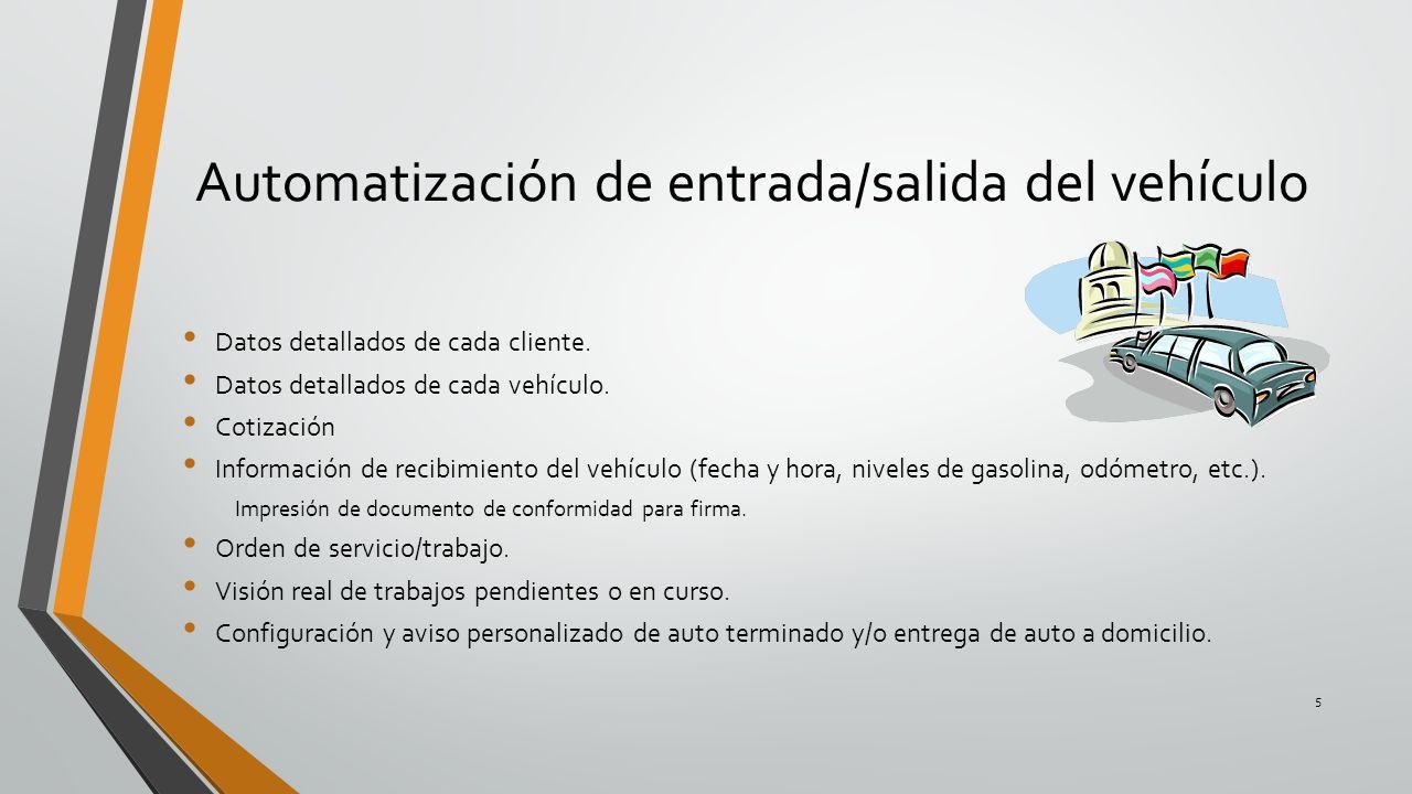 Automatización de entrada/salida del vehículo Datos detallados de cada cliente. Datos detallados de cada vehículo. Cotización Información de recibimie