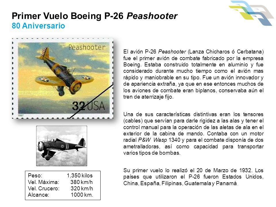 Primer Vuelo Boeing P-26 Peashooter 80 Aniversario El avión P-26 Peashooter (Lanza Chicharos ó Cerbatana) fue el primer avión de combate fabricado por