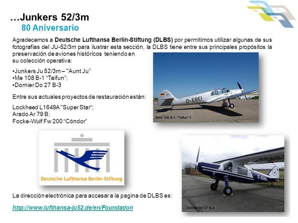 Agradecemos a Deutsche Lufthansa Berlin-Stiftung (DLBS) por permitirnos utilizar algunas de sus fotografías del JU-52/3m para ilustrar esta sección, l