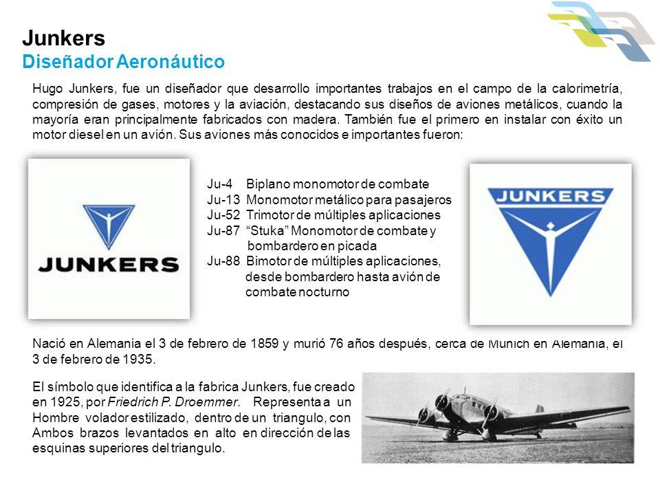 Junkers Diseñador Aeronáutico Hugo Junkers, fue un diseñador que desarrollo importantes trabajos en el campo de la calorimetría, compresión de gases,