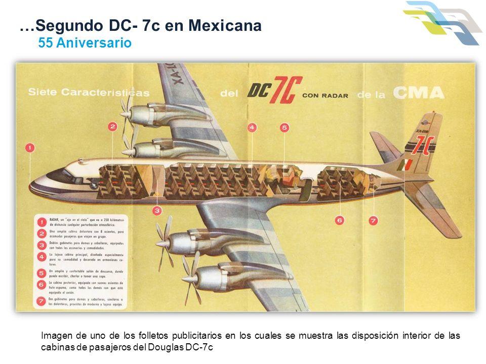 …Segundo DC- 7c en Mexicana 55 Aniversario Imagen de uno de los folletos publicitarios en los cuales se muestra las disposición interior de las cabina