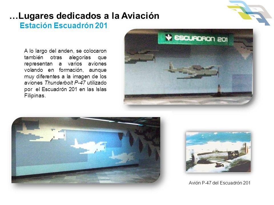 A lo largo del anden, se colocaron también otras alegorías que representan a varios aviones volando en formación, aunque muy diferentes a la imagen de