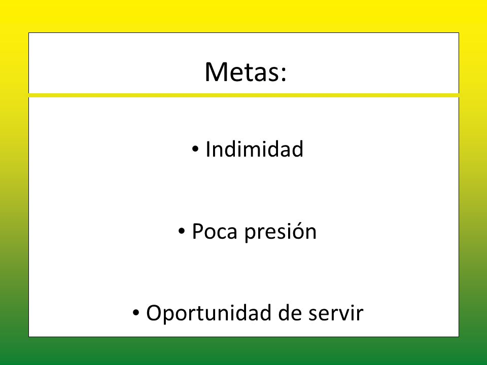 Metas: Indimidad Indimidad Poca presión Poca presión Oportunidad de servir Oportunidad de servir