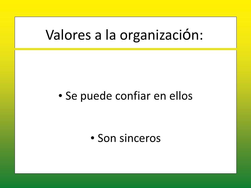 Valores a la organizaci ó n: Se puede confiar en ellos Se puede confiar en ellos Son sinceros Son sinceros
