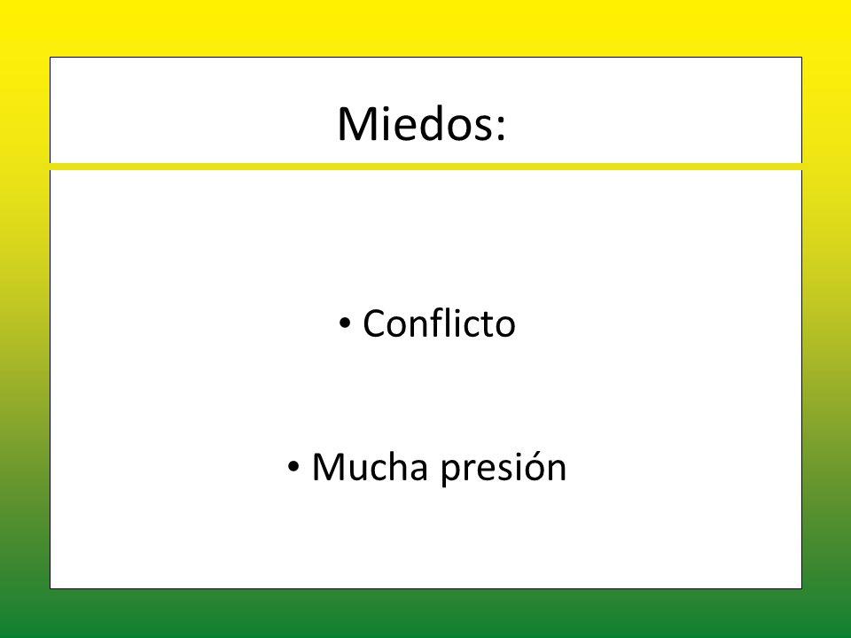 Miedos: Conflicto Conflicto Mucha presión Mucha presión