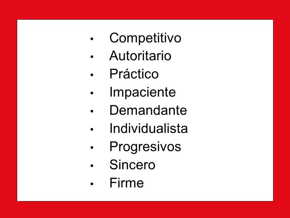 Competitivo Competitivo Autoritario Autoritario Práctico Práctico Impaciente Impaciente Demandante Demandante Individualista Individualista Progresivos Progresivos Sincero Sincero Firme Firme