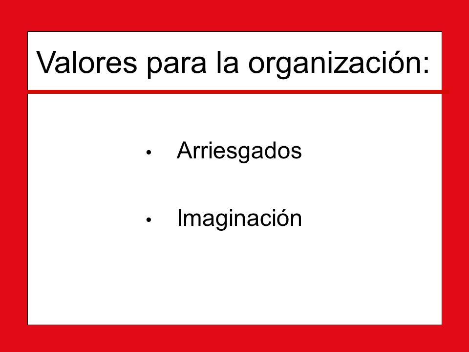 Arriesgados Arriesgados Imaginación Imaginación Valores para la organización: