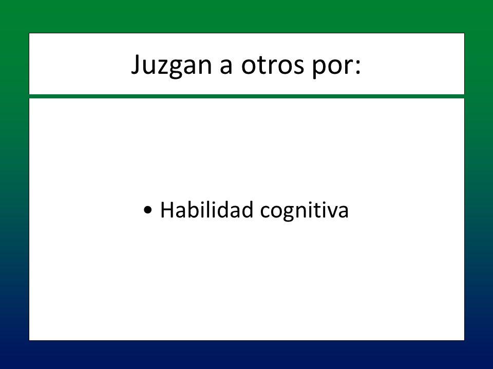 Habilidad cognitiva Habilidad cognitiva Juzgan a otros por: