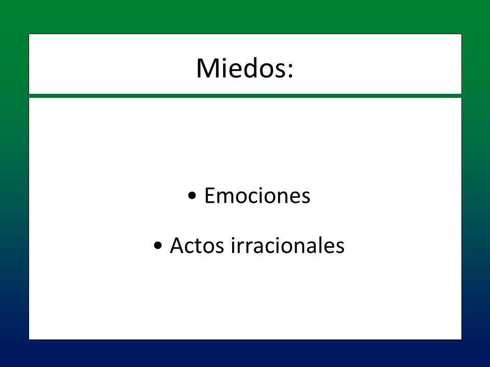 Emociones Emociones Actos irracionales Actos irracionales Miedos:
