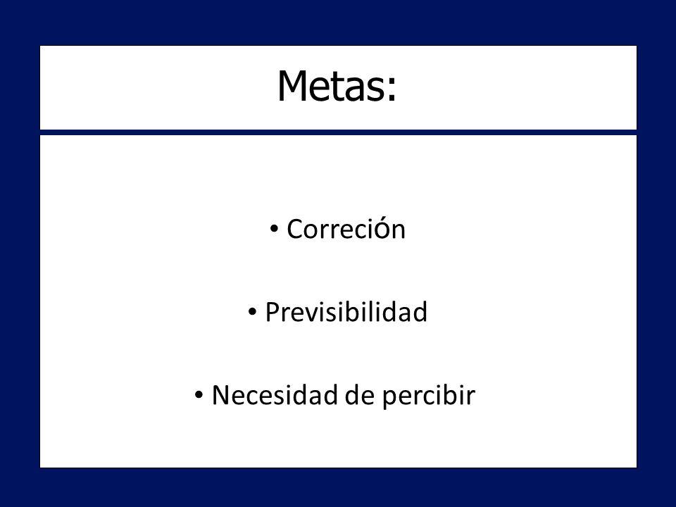 Correci ó n Correci ó n Previsibilidad Previsibilidad Necesidad de percibir Necesidad de percibir Metas: