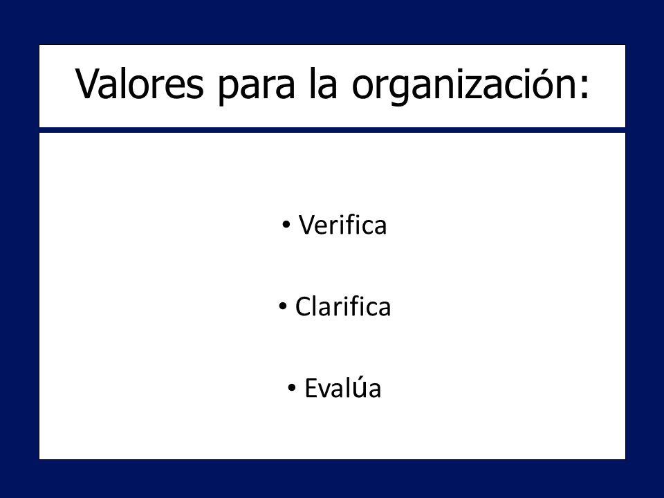 Verifica Verifica Clarifica Clarifica Eval ú a Eval ú a Valores para la organizaci ó n: