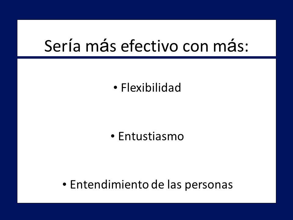 Flexibilidad Flexibilidad Entustiasmo Entustiasmo Entendimiento de las personas Entendimiento de las personas Ser í a m á s efectivo con m á s: