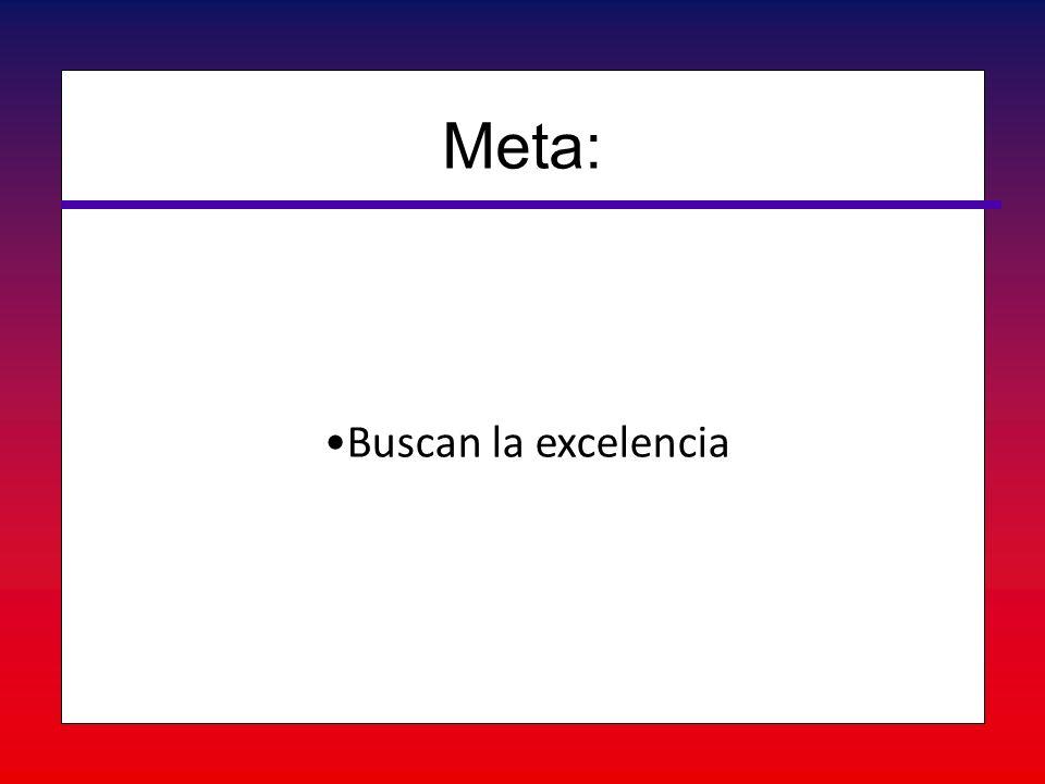 Buscan la excelenciaBuscan la excelencia Meta: