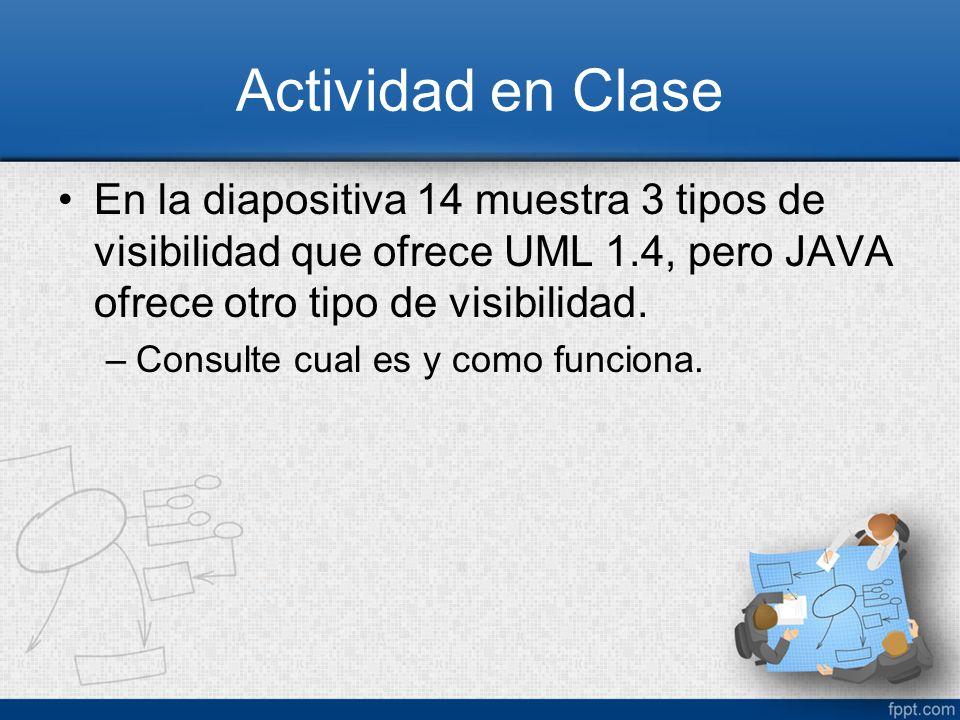 Actividad en Clase En la diapositiva 14 muestra 3 tipos de visibilidad que ofrece UML 1.4, pero JAVA ofrece otro tipo de visibilidad. –Consulte cual e