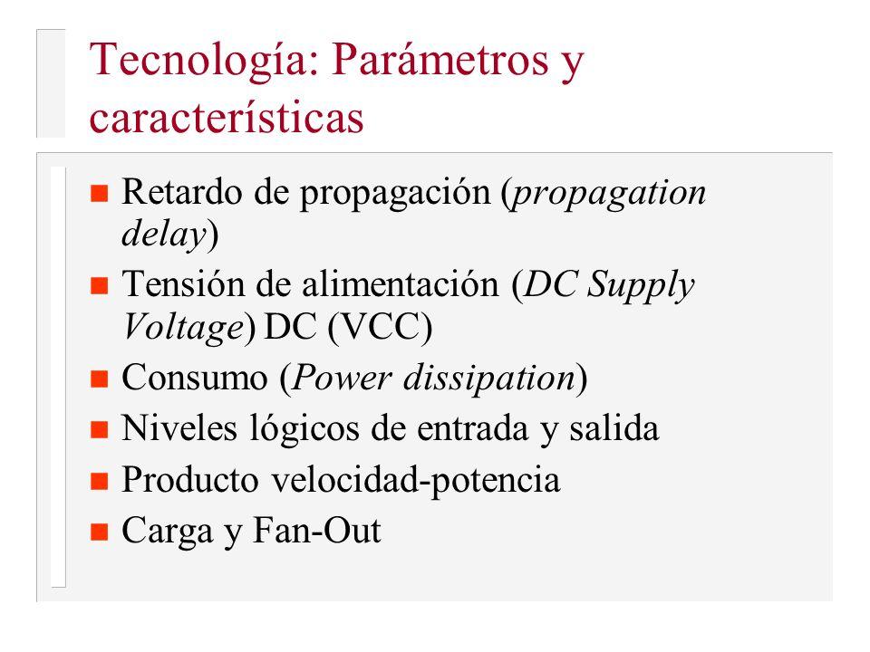 Tecnología: Parámetros y características n Retardo de propagación (propagation delay) n Tensión de alimentación (DC Supply Voltage) DC (VCC) n Consumo