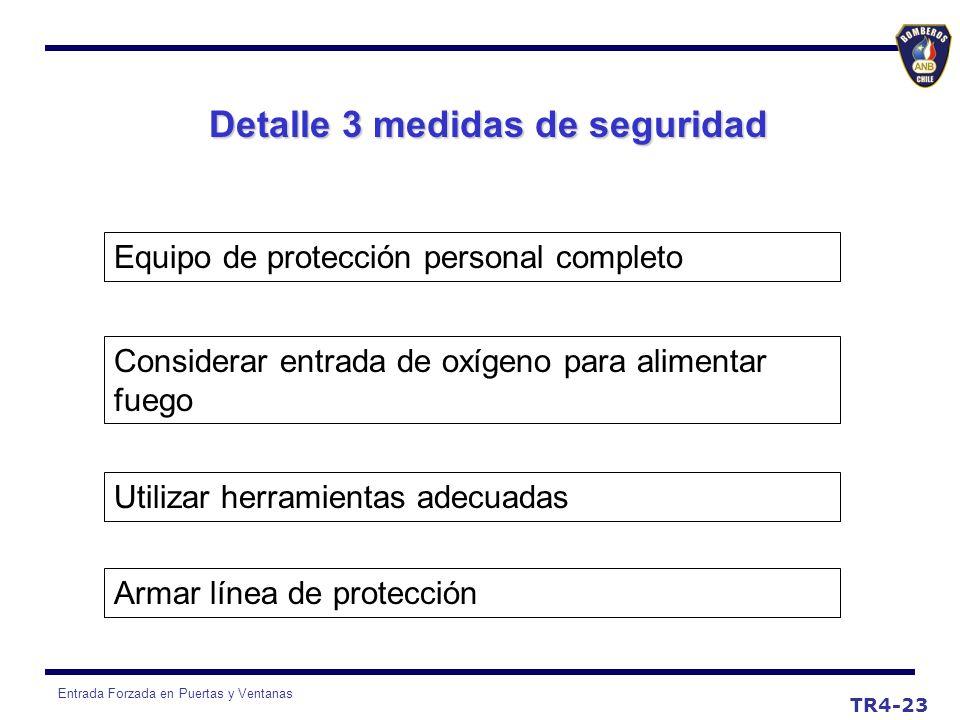Entrada Forzada en Puertas y Ventanas Detalle 3 medidas de seguridad Equipo de protección personal completo Considerar entrada de oxígeno para aliment