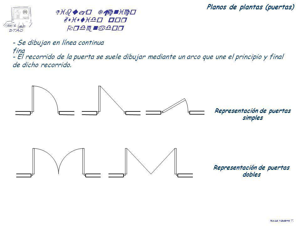 Dibujo Técnico Asistido por Ordenador DTAO Rosa Navarro T. Planos de plantas (puertas) - Se dibujan en línea continua fina - El recorrido de la puerta