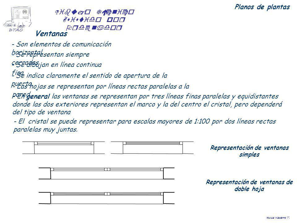 Dibujo Técnico Asistido por Ordenador DTAO Rosa Navarro T. Planos de plantas Ventanas - Son elementos de comunicación horizontal. - Se representan sie