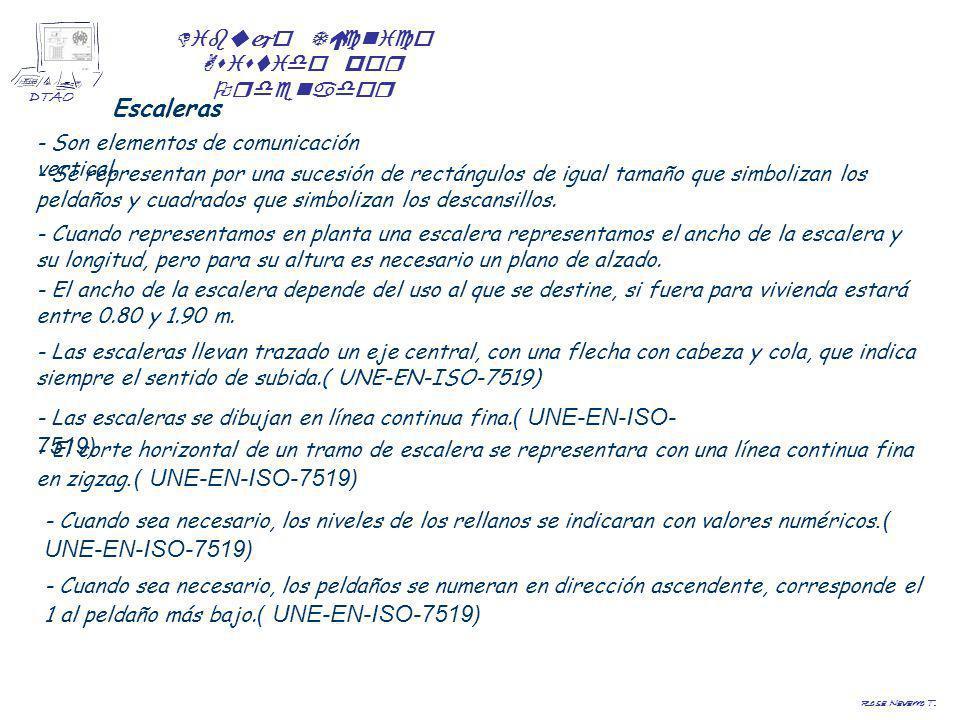 Dibujo Técnico Asistido por Ordenador DTAO Rosa Navarro T. Escaleras - Son elementos de comunicación vertical. - Las escaleras se dibujan en línea con