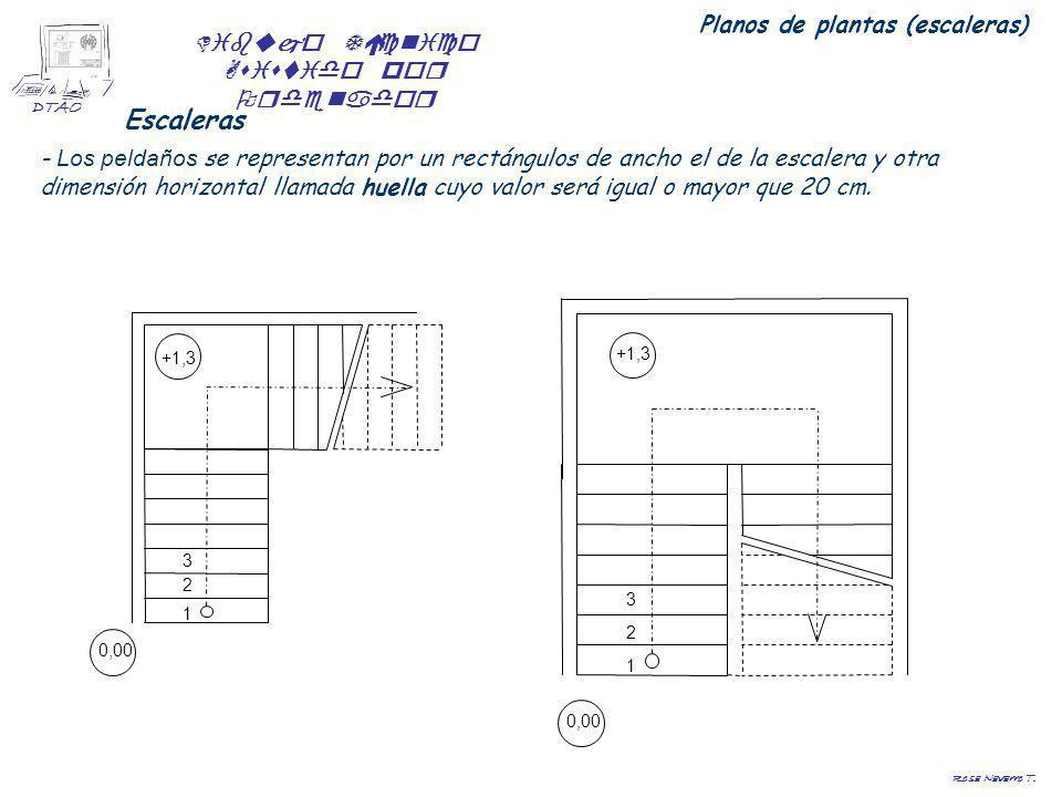 Dibujo Técnico Asistido por Ordenador DTAO Rosa Navarro T. Escaleras - Los peldaños se representan por un rectángulos de ancho el de la escalera y otr