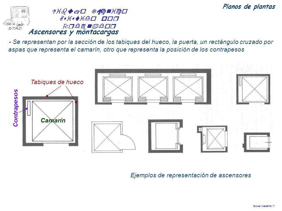 Dibujo Técnico Asistido por Ordenador DTAO Rosa Navarro T. Ascensores y montacargas - Se representan por la sección de los tabiques del hueco, la puer