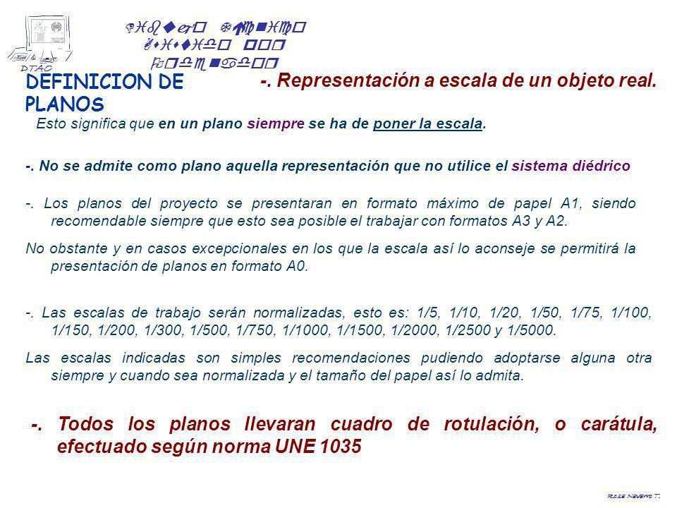 Dibujo Técnico Asistido por Ordenador DTAO Rosa Navarro T. DEFINICION DE PLANOS -. Representación a escala de un objeto real. -. No se admite como pla
