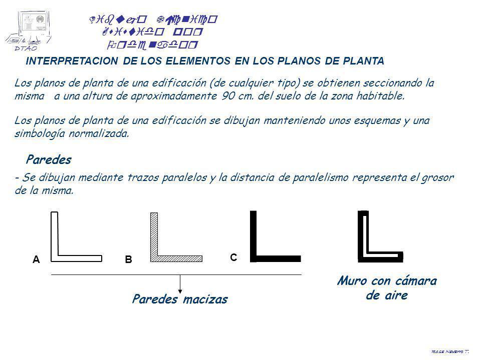 Dibujo Técnico Asistido por Ordenador DTAO Rosa Navarro T. INTERPRETACION DE LOS ELEMENTOS EN LOS PLANOS DE PLANTA Los planos de planta de una edifica