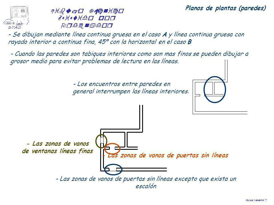 Dibujo Técnico Asistido por Ordenador DTAO Rosa Navarro T. Planos de plantas (paredes) - Se dibujan mediante línea continua gruesa en el caso A y líne