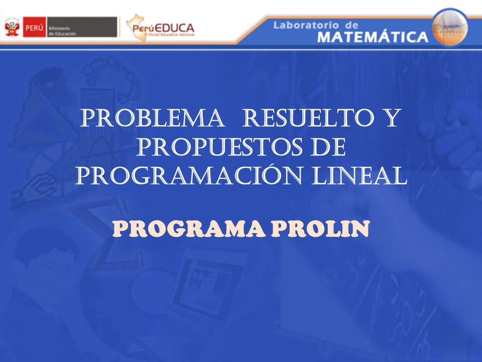 PROBLEMA RESUELTO Y PROPUESTOS DE PROGRAMACIÓN LINEAL PROGRAMA PROLIN