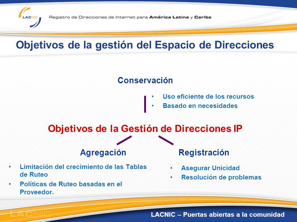LACNIC – Puertas abiertas a la comunidad Objetivos de la gestión del Espacio de Direcciones Uso eficiente de los recursos Basado en necesidades Limita