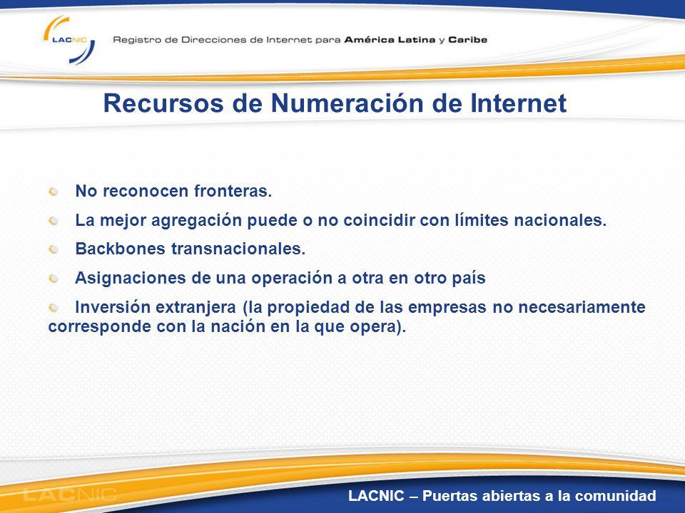 LACNIC – Puertas abiertas a la comunidad Recursos de Numeración de Internet No reconocen fronteras. La mejor agregación puede o no coincidir con límit