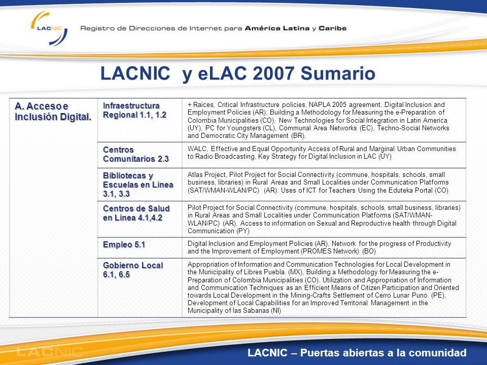 LACNIC – Puertas abiertas a la comunidad LACNIC y eLAC 2007 Sumario A. Acceso e Inclusión Digital. Infraestructura Regional 1.1, 1.2 + Raices, Critica
