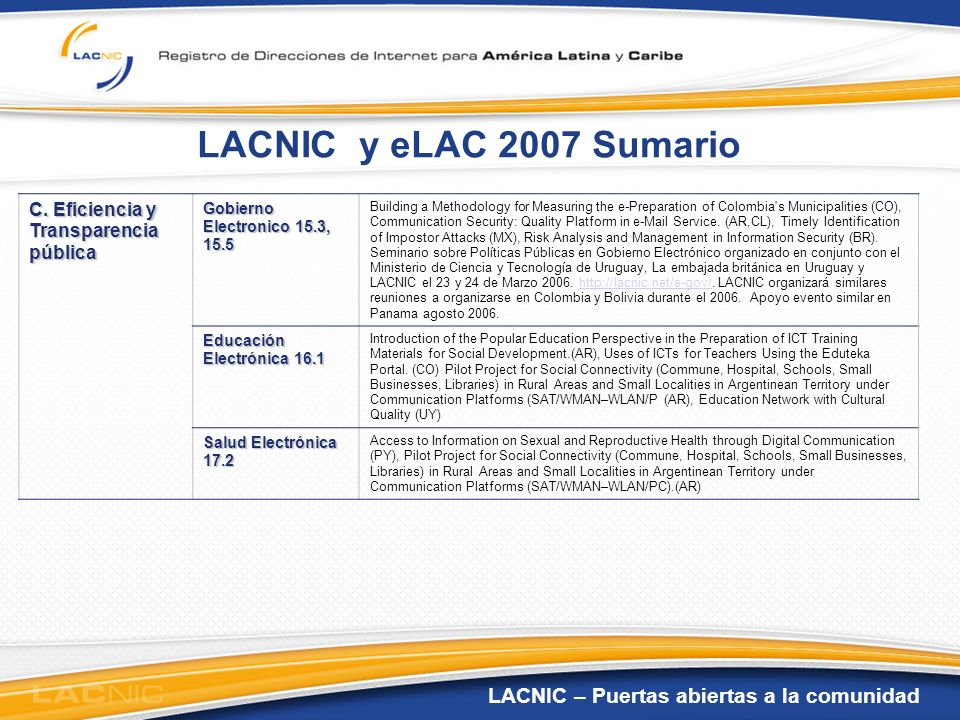 LACNIC – Puertas abiertas a la comunidad LACNIC y eLAC 2007 Sumario C. Eficiencia y Transparencia pública Gobierno Electronico 15.3, 15.5 Building a M