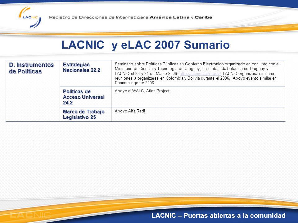 LACNIC – Puertas abiertas a la comunidad LACNIC - eLAC 2007 LACNIC, mediante actividades propias o en conjunto con otras organizaciones, desarrolla acciones concretas que contribuyen al logro de 23 metas del plan eLAC-2007, 1/3 del total de metas.