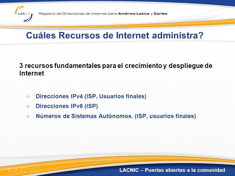 LACNIC – Puertas abiertas a la comunidad Cuáles Recursos de Internet administra? 3 recursos fundamentales para el crecimiento y despliegue de Internet