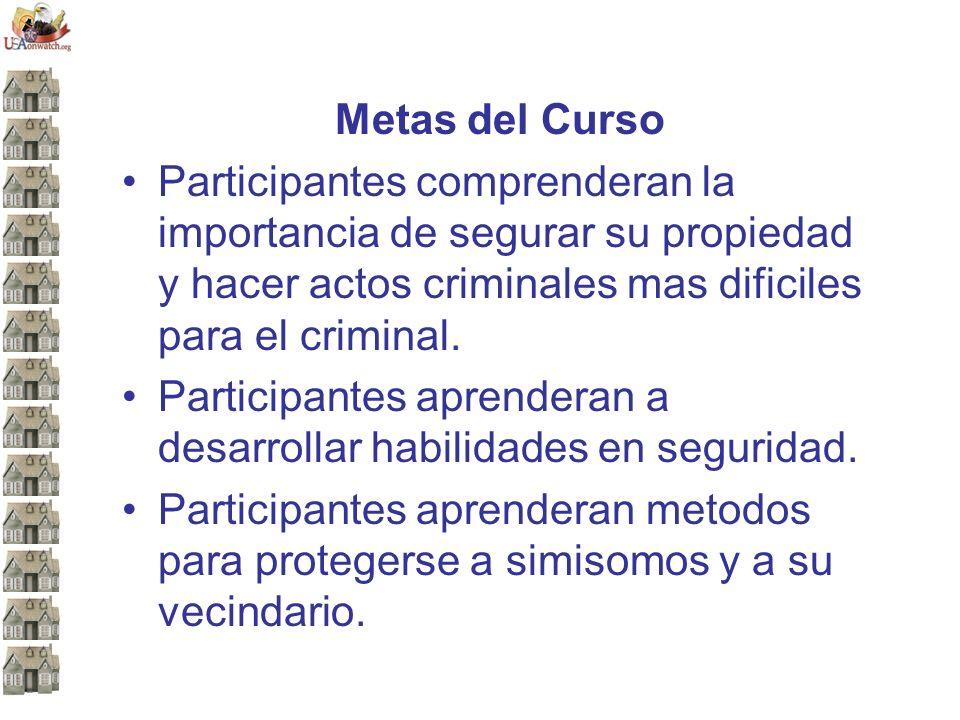 Metas del Curso Participantes comprenderan la importancia de segurar su propiedad y hacer actos criminales mas dificiles para el criminal.