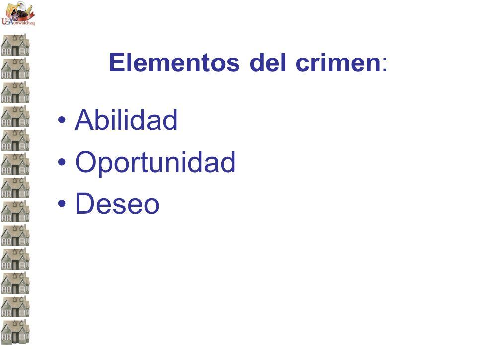 Elementos del crimen: Abilidad Oportunidad Deseo