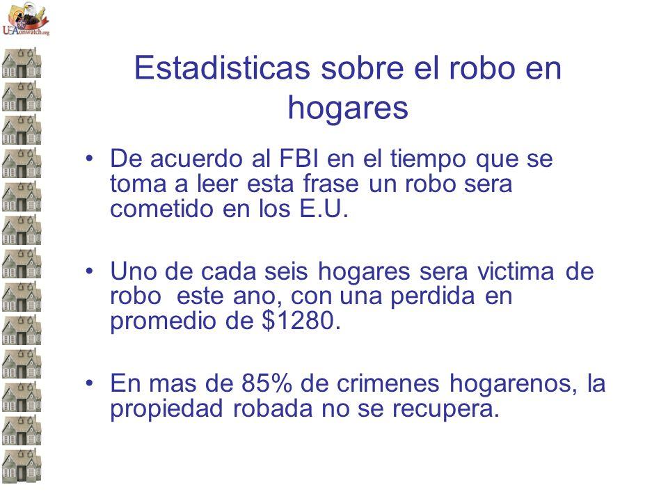 Estadisticas sobre el robo en hogares De acuerdo al FBI en el tiempo que se toma a leer esta frase un robo sera cometido en los E.U.