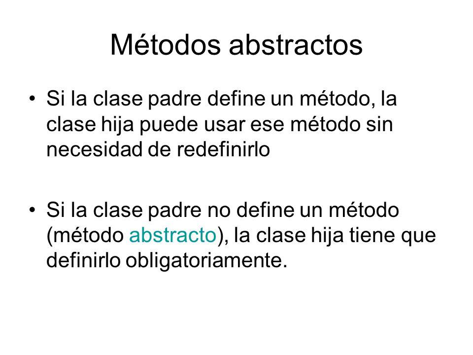 Métodos abstractos Si la clase padre define un método, la clase hija puede usar ese método sin necesidad de redefinirlo Si la clase padre no define un