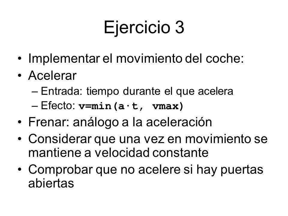 Ejercicio 3 Implementar el movimiento del coche: Acelerar –Entrada: tiempo durante el que acelera –Efecto: v=min(a·t, vmax) Frenar: análogo a la acele