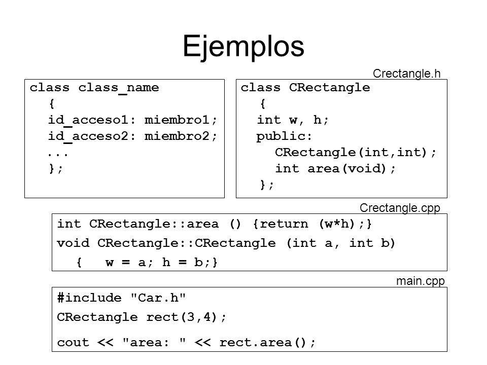 Ejemplos class class_name { id_acceso1: miembro1; id_acceso2: miembro2;... }; class CRectangle { int w, h; public: CRectangle(int,int); int area(void)