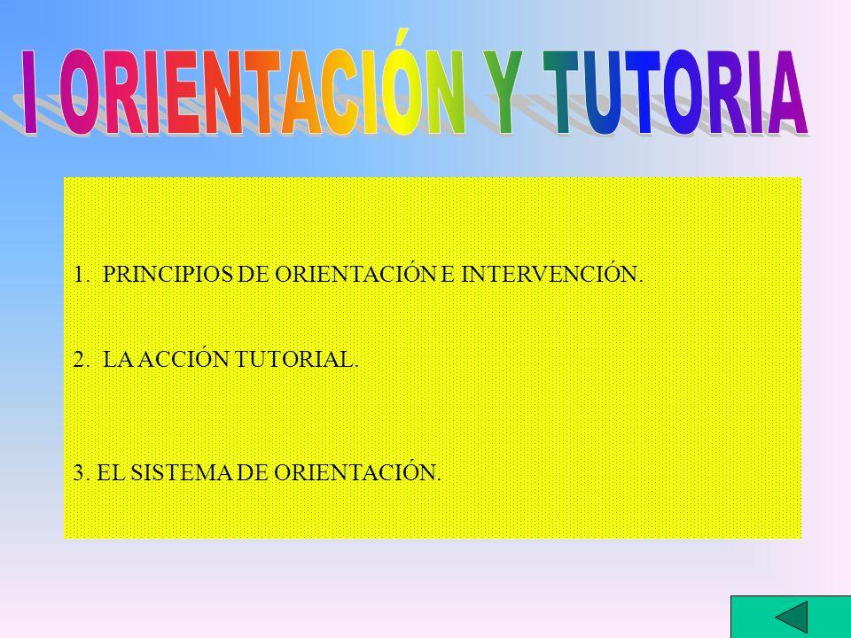 1. PRINCIPIOS DE ORIENTACIÓN E INTERVENCIÓN. 2. LA ACCIÓN TUTORIAL. 3. EL SISTEMA DE ORIENTACIÓN.
