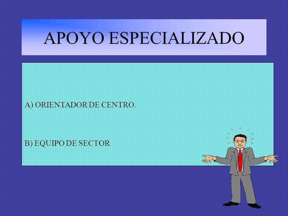 APOYO ESPECIALIZADO A) ORIENTADOR DE CENTRO. B) EQUIPO DE SECTOR
