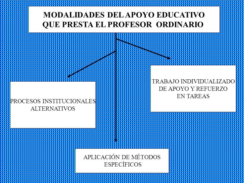 MODALIDADES DEL APOYO EDUCATIVO QUE PRESTA EL PROFESOR ORDINARIO PROCESOS INSTITUCIONALES ALTERNATIVOS TRABAJO INDIVIDUALIZADO DE APOYO Y REFUERZO EN TAREAS APLICACIÓN DE MÉTODOS ESPECÍFICOS