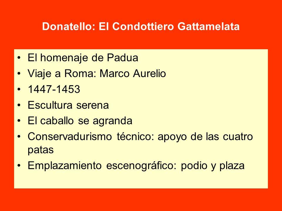 Donatello: El Condottiero Gattamelata El homenaje de Padua Viaje a Roma: Marco Aurelio 1447-1453 Escultura serena El caballo se agranda Conservadurism