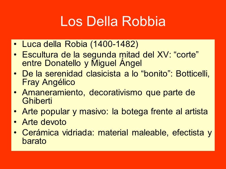 Los Della Robbia Luca della Robia (1400-1482) Escultura de la segunda mitad del XV: corte entre Donatello y Miguel Ángel De la serenidad clasicista a